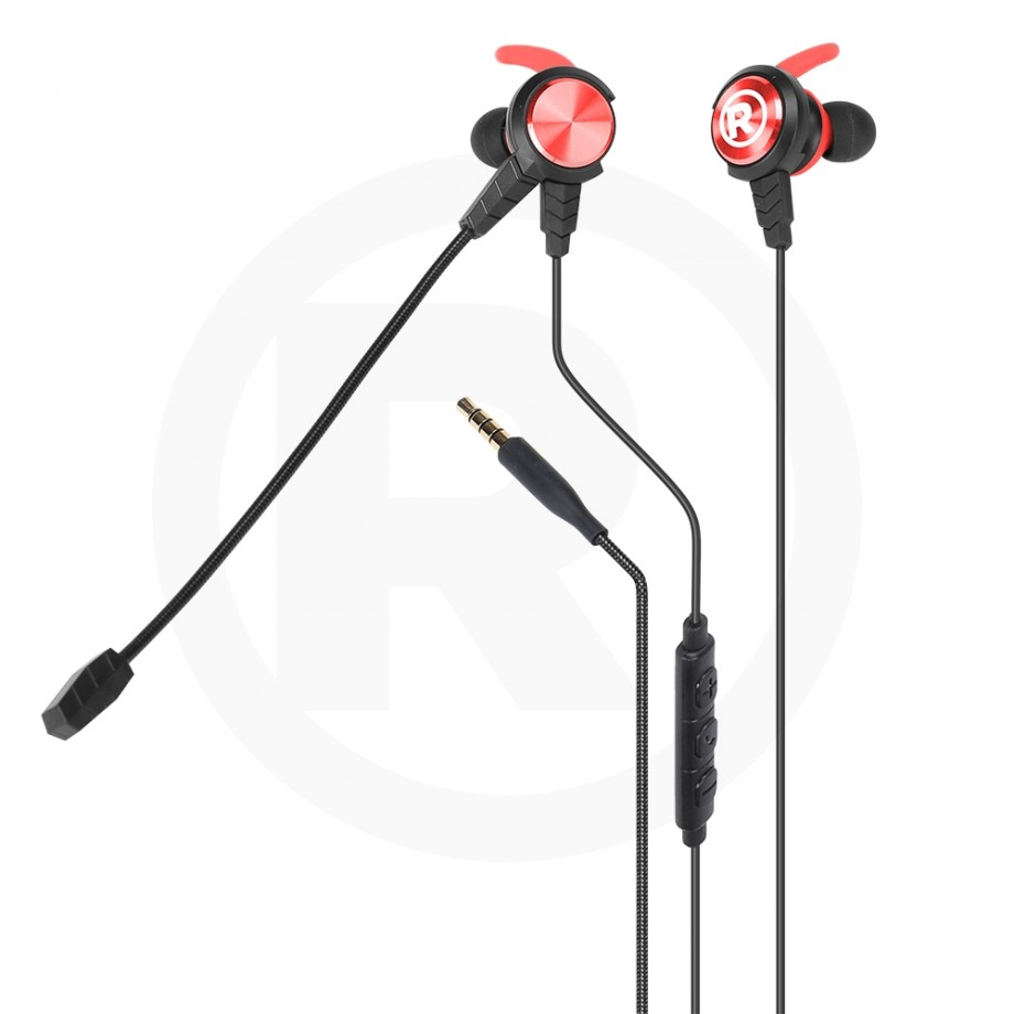 Gaming Earphones 3.5mm Red
