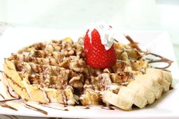 Waffle de Nutella, Fresas y Banano